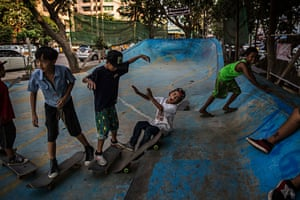 """Yan Aung is 10 years old. """"It's the school holidays, so I come here every day,"""" he says. """"Before, I had nothing to do during the holidays but now I come here and hang out with friends. Sometimes I skate, sometimes I don't feel like it, but I always come."""""""
