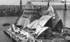 The Sydney Opera House under construction in 1966. It eventually opened in 1973 to worldwide acclaim.