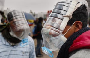 Quito, EcuadorPeople use homemade gas masks during protests against the government.