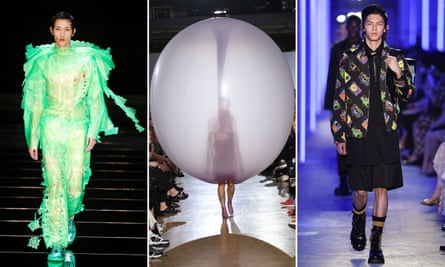 Meme-tastic … designs by (from left) Craig Green, Fredrik Tjærandsen and Prada.