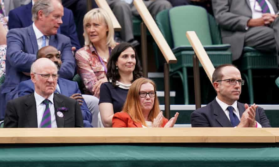 Sarah Gilbert in the royal box at Centre Court on day one of Wimbledon, 2021