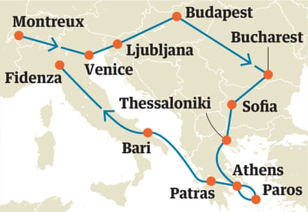 Map of the writer's second Interrail route.