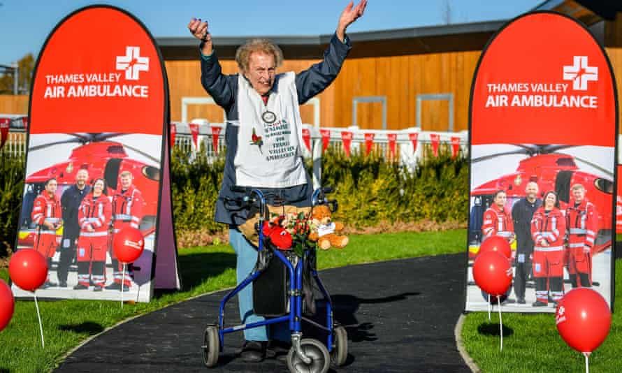 Ruth Saunders, 104, whose 26.2-mile charity walk for Thames Valley air ambulance earned her an MBE.