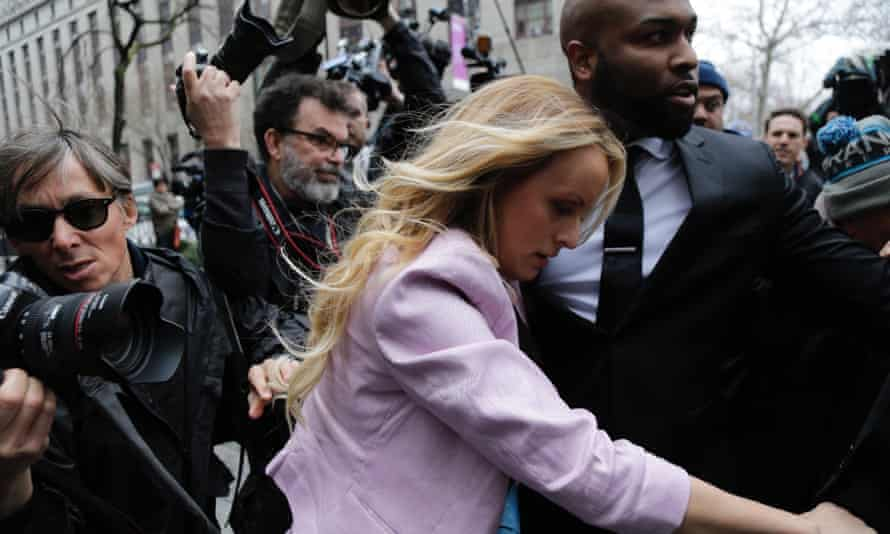 Stormy Daneils leaves court in New York. Michael Cohen paid the porn actor $130,000 to buy her silence about an alleged affair with Donald Trump.