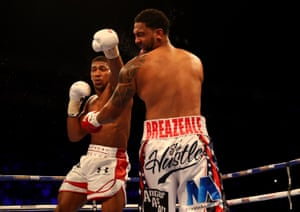Anthony Joshua rocks Dominic Breazeale with a left.