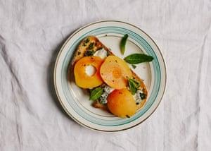 Fruit, mint adjika and dairy toast