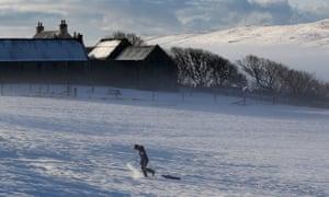 A person sledges at Tingwall, Shetland, last winter.