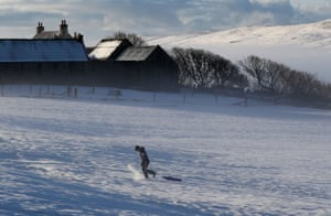 Shetland, UK. An early morning sledger out in the fields in Tingwall on the Scottish island