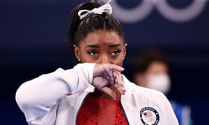 Simone Biles after having to leave the team finals