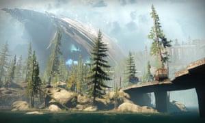 Remnants of an alien ship loom over the European Dead Zone in Destiny 2.