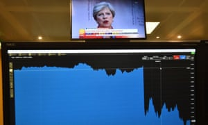 A graph on a trader's screen shows the fall of pound when the election exit poll was released on 8 June.