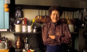 Julia Child in her home in Cambridge, Massachusetts.