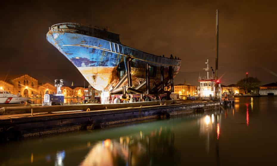 'Vile and mawkish' … Christoph Büchel's recovered ship.