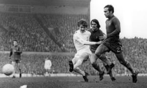 Leeds' Alan Clarke (left) shoots as Ron Harris (right) approaches in the 1970 FA Cup final. Chelsea won 2-1 after extra time.