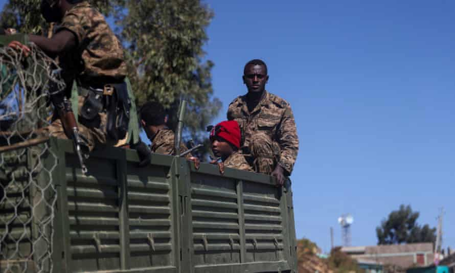 Ethiopian troops on patrol in Tigray