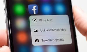 facebook status update on a phone