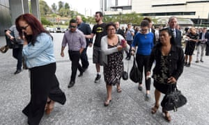 Members of Warriena Wright's family leave court in Brisbane
