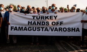 Greek Cypriots protest at the Deryneia crossing point after Turkish authorities reopened Varosha, a beach quarter of the historic city of Famagusta.