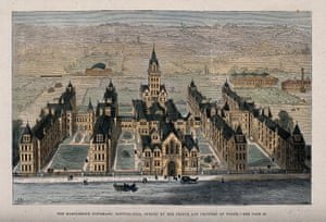 An engraving of the St Marylebone Infirmary when it opened in 1881.