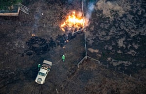 An aerial view of emergency services fighting the East Gippsland fires
