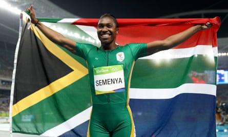 Caster Semenya celebrates his gold medal run