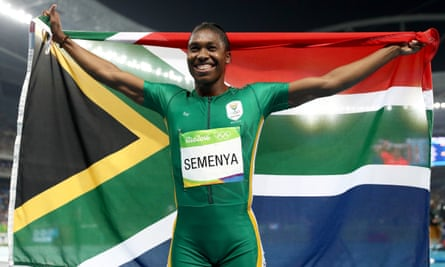 Caster Semenya celebrates winning gold in the 800m final at the 2016 Olympics in Rio de Janeiro
