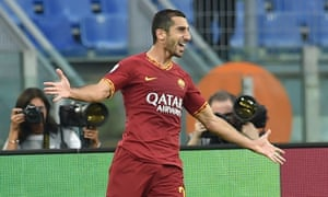 Henrikh Mkhitaryan celebrates after scoring against Sassuolo, his first for Roma.