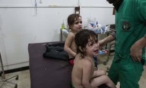 Children being trea in eastern Ghouta, Syria, after the recent gas attack.