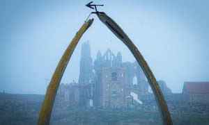 Whitby Abbey in the mist, framed in a whale's jawbone