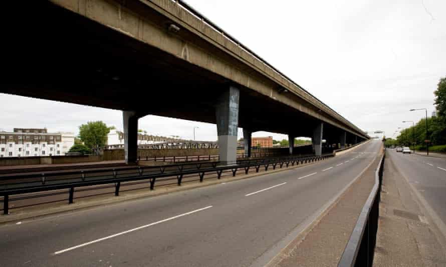 The usually congested A40 Westway in west London. The UK's longest elevated road requires significant repairs.