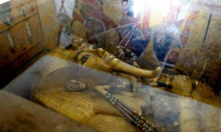 The gold mummy of Tutankhamun.