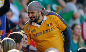 A Romania fan at their game against Ireland at Wembley in the 2015 World Cup