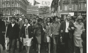 Joan Baez, Donovan and Vanessa Redgrave on a CND march in May 1965.