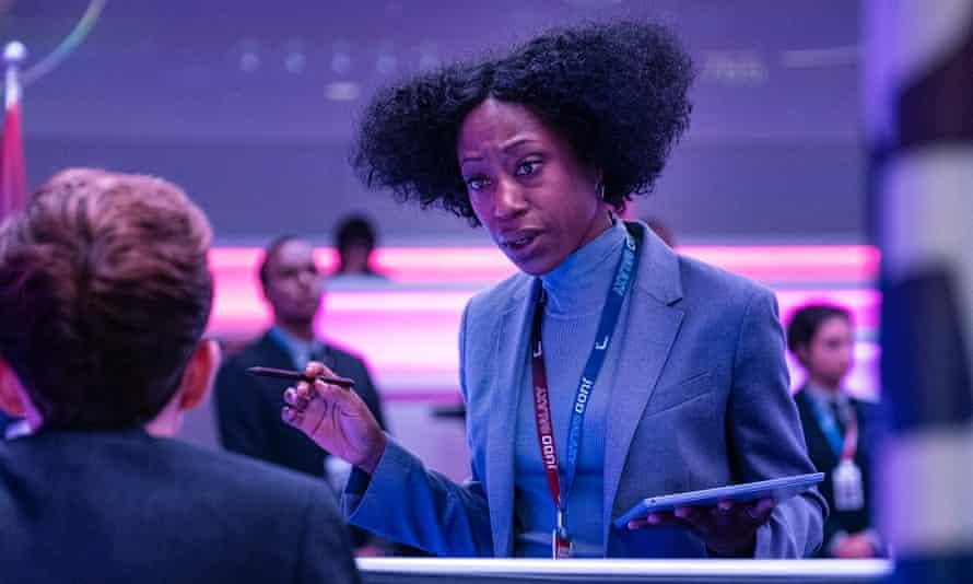 Purple reign: Nikki Amuka-Bird as the head of mission control for a space tourism company in Armando Ianucci's Avenue 5.