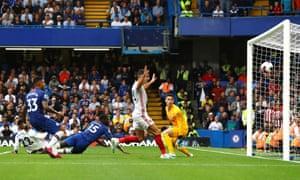 Kurt Zouma of Chelsea scores an own goal for Sheffield United's second goal.