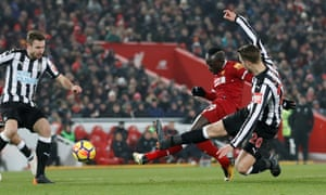 Premier League - Liverpool vs Newcastle United - Anfield, Liverpool, March 3, 2018 Liverpool's Sadio Mane scores their second goal