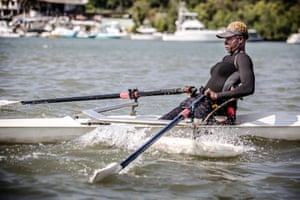 On the water in Mombasa. Asiya is a serious medal contender.