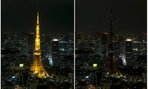 Tokyo Tower before and during Earth Hour in 2016.