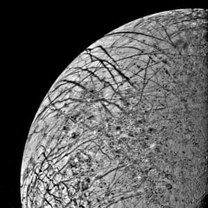 The first close look ever obtained of Jupiter's satellite, Europa, was taken 9 July 1979 as the spacecraft approached the planet