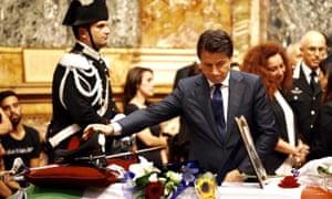 Mario Cerciello Rega was laid in state on Sunday in a chapel in Rome where the Italian prime minister, Giuseppe Conte was present