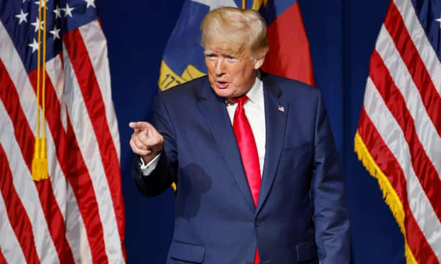 Former president Donald Trump at the North Carolina GOP convention dinner in Greenville.
