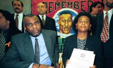 Neville and Doreen Lawrence at a press conference following the inquiry into their son Stephen's murder.