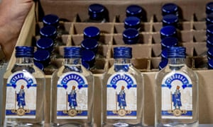 Vodka bottles that were seized by the customs authorities in the port of Rotterdam.
