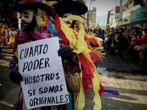 Chores indigenous people from the Mexican Zoque region demonstrate in support of the National Coordination of Education Workers (CNTE) who oppose an education reform, in Tuxtle Gutierrez, Chiapas State, on June 17, 2016.