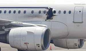Hole in the fuselage of the Daallo Airlines Airbus A321 that was bombed over Somalia.