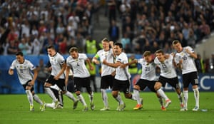 A semi-final beckons again for Germany as the players celebrate after Hector's winning penalty.