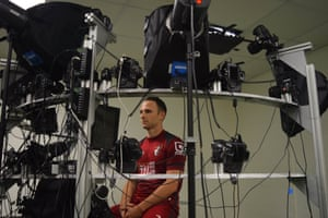 Bournemouth's Marc Pugh has his facial features scanned for FIFA16. The game attempts to have the closest possible representation of players' appearance and movements. This is achieved through the use of head-scanning and motion capture techniques.