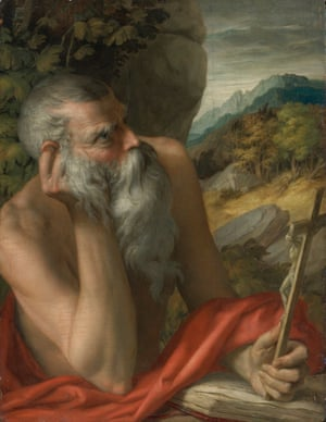 Painting of Saint Jerome, originally attributed to the circle of Parmigianino. Sotheby's has called the painting a fake and reimbursed the buyer.