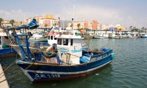 Fishing boats in La Línea's harbour.