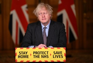 British Prime Minister Boris Johnson speaks during a televised press conference at 10 Downing Street on February 22, 2021 in London